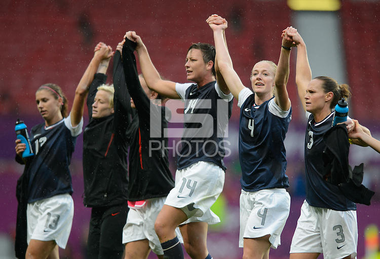 Manchester, England - July 31, 2012: The USA Women's soccer team 1-0 over North Korea during the opening round of the Olympic football tournament at Old Trafford. The USA celebrates after the match.
