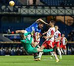 18.3.2021 Rangers v Slavia Prague: Kemar Roofe catches Ondrej Kolar on the head with his boot