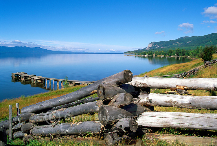 Stuart Lake, Fort St. James, Northern BC, British Columbia, Canada - Log Rail Fence and Scenic View across Lake
