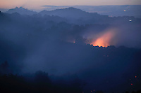 Flames blaze from a forest during a wildfire in Seoane de Oleiros near Ourense on August 25, 2013. (c) Pedro ARMESTRE