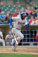 Buffalo Bisons Socrates Brito (51) runs to first base during an International League game against the Rochester Red Wings on May 31, 2019 at Frontier Field in Rochester, New York.  Rochester defeated Buffalo 5-4 in ten innings.  (Mike Janes/Four Seam Images)