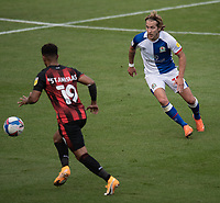 Blackburn Rovers' Lewis Holtby (right) puts Bournemouth's Junior Stanislas (left) under pressure<br /> <br /> Photographer David Horton/CameraSport <br /> <br /> The EFL Sky Bet Championship - Bournemouth v Blackburn Rovers - Saturday September 12th 2020 - Vitality Stadium - Bournemouth<br /> <br /> World Copyright © 2020 CameraSport. All rights reserved. 43 Linden Ave. Countesthorpe. Leicester. England. LE8 5PG - Tel: +44 (0) 116 277 4147 - admin@camerasport.com - www.camerasport.com