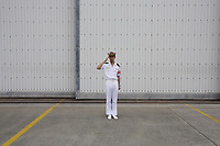 A member of the Japan Maritime Self Defence Force at a naval base in the city of Naha in Okinawa, Japan. 2012