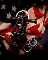 Sextant and American flag.