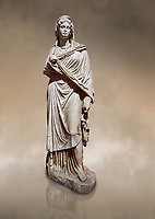Roman statue of Sabina .Marble. Perge. 2nd century AD. Inv no 3066-3086. Antalya Archaeology Museum; Turkey. Against a warm art background.