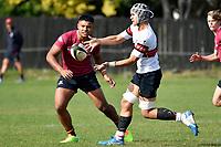 Cody Lokotui of Scots College passes the ball during the College 1st XV Rugby - Scots College v Kings College at Scots College, Wellington, New Zealand on Saturday 8 May 2021.<br /> Copyright photo: Masanori Udagawa /  www.photosport.nz