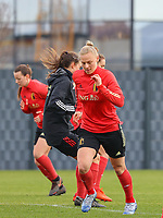 Ella Van Kerkhoven pictured during the training session of the Belgian Women's National Team ahead of a friendly female soccer game between the national teams of Germany and Belgium , called the Red Flames in a pre - bid tournament called Three Nations One Goal with the national teams from Belgium , The Netherlands and Germany towards a bid for the hosting of the 2027 FIFA Women's World Cup ,on 19th of February 2021 at Proximus Basecamp. PHOTO: SEVIL OKTEM | SPORTPIX.BE