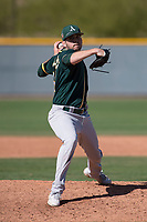 Oakland Athletics relief pitcher Will Gilbert (51) during a Minor League Spring Training game against the Chicago Cubs at Sloan Park on March 19, 2018 in Mesa, Arizona. (Zachary Lucy/Four Seam Images)
