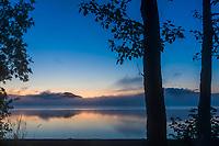 Dawn along the shores of Naknek lake, Kejulik mountains in the distance, Katmai National Park, Alaska.