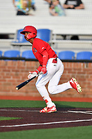 Johnson City Cardinals left fielder Wadye Ynfante (3) swings at a pitch during a game against the Danville Braves at TVA Credit Union Ballpark on July 23, 2017 in Johnson City, Tennessee. The Cardinals defeated the Braves 8-5. (Tony Farlow/Four Seam Images)