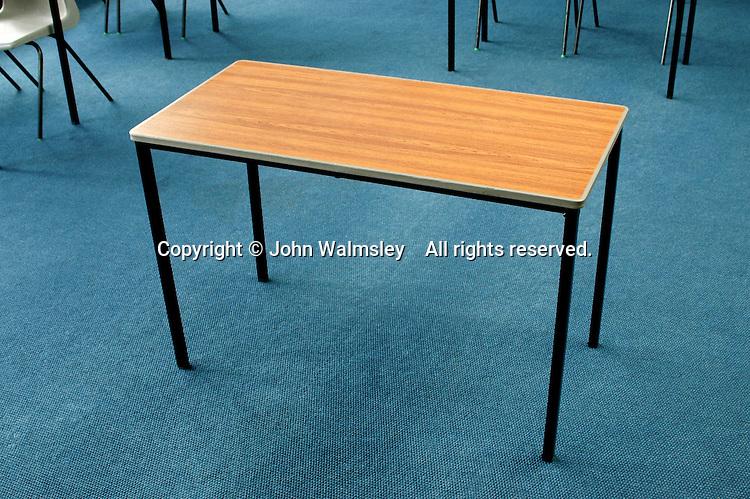 Table in school classroom.