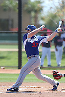 Joey Curletta #37 of the Los Angeles Dodgers bats during a Minor League Spring Training Game against the Cleveland Indians at the Los Angeles Dodgers Spring Training Complex on March 22, 2014 in Glendale, Arizona. (Larry Goren/Four Seam Images)