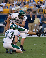 01 September 2007:Eastern Michigan placekicker Sean Dutcher (kicker)..The Pitt Panthers defeated the Eastern Michigan Eagles 27-3 at Heinz Field, Pittsburgh, Pennsylvania.
