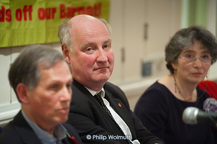 Councillor Richard Cornelius, Conservative leader of Barnet Council faces hostile questioning.  Barnet Alliance for Public Services meeting called to to express resident opposition to the council's controversial One Barnet mass privatisation plan.