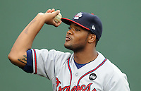 July 8, 2009: 2009 draft pick RHP Tyrelle Harris (39) of the Rome Braves prior to a game at Fluor Field at the West End in Greenville, S.C. Harris, a former pitcher for the University of Tennessee, was picked by the Atlanta Braves in the 19th round of the 2009 Major League Draft. Photo by: Tom Priddy/Four Seam Images