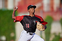 Erie SeaWolves pitcher Anthony Castro (15) during an Eastern League game against the Altoona Curve on June 3, 2019 at UPMC Park in Erie, Pennsylvania.  Altoona defeated Erie 9-8.  (Mike Janes/Four Seam Images)