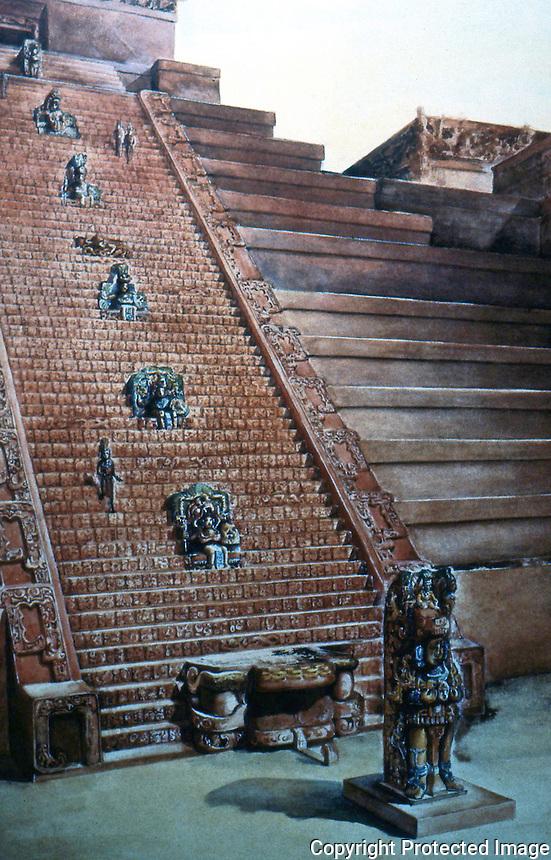 World Civilization:  Maya--Copan Temple in Honduras.  Hieroglypics stairway. Stela M, as reconstructed by Tatiana Proskouriakoff, watercolor, 1930's.