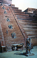 World Civilization:  Maya--Copan Temple in Honduras.  Hieroglypics stairway. Stela M, as reconstructed by Tatiana Proskouriakoff, watercolor, 1930's.