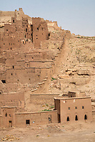 Morocco.  Ait Benhaddou Ksar, a World Heritage Site, showing Eastern wall.