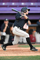 Shortstop Buddy Mrowka (5) of the Harvard Crimson bats in game two of a doubleheader against the Furman Paladins on Friday, March 16, 2018, at Latham Baseball Stadium on the Furman University campus in Greenville, South Carolina. Furman won, 7-6. (Tom Priddy/Four Seam Images)