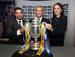 Former Rangers striker Nacho Novo, SFA President Campbell Ogilvie and William Hill's Nicola Frampton make the third round draw for the William Hill Scottish Cup in the Hall of Fame at Hampden today