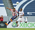 CARSON, CA - July 7, 2012: Chivas USA forward Jose Correa (27) and Vancouver Whitecaps midfielder Gershon Koffie (28) during the Chivas USA vs Vancouver Whitecaps FC match at the Home Depot Center in Carson, California. Final score Vancouver Whitecaps FC 0, Chivas USA 0.