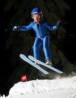 Olav Prestegård (8) ski jumping in Schrøderbakken, near the center of Oslo.
