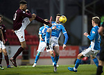 St Johnstone v Hearts…05.04.17     SPFL    McDiarmid Park<br />Bjorn Johnsen clears from Joe Shaughnessy<br />Picture by Graeme Hart.<br />Copyright Perthshire Picture Agency<br />Tel: 01738 623350  Mobile: 07990 594431