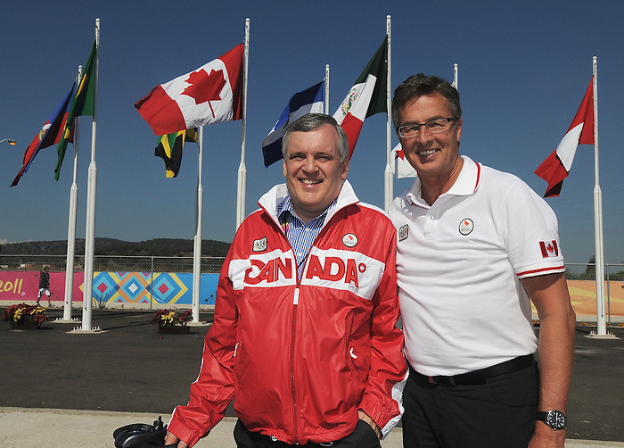 David Onley and Henry Storgaard, Guadalajara 2011.<br /> Highlights from a VIP visit to the Athletes Village // Faits saillants d'une visite VIP au Village des athlètes. 11/18/2011.