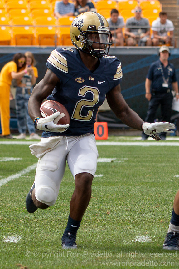 Pitt wide receiver Maurice Ffrench. The Pitt Panthers football team defeated the Georgia Tech Yellow Jackets 24-19 on September 15, 2018 at Heinz Field in Pittsburgh, Pennsylvania.