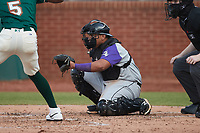 Winston-Salem Dash catcher Xavier Fernandez (12) on defense against the Greensboro Grasshoppers at First National Bank Field on June 3, 2021 in Greensboro, North Carolina. (Brian Westerholt/Four Seam Images)