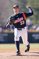 Starting pitcher Danny Hultzen #23 of the Virginia Cavaliers in action versus the East Carolina Pirates at Clark-LeClair Stadium on February 19, 2010 in Greenville, North Carolina.   Photo by Brian Westerholt / Four Seam Images