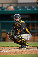 Bradenton Marauders catcher Jason Delay (5) looks into the dugout during the second game of a doubleheader against the Lakeland Flying Tigers on April 11, 2018 at Publix Field at Joker Marchant Stadium in Lakeland, Florida.  Bradenton defeated Lakeland 1-0.  (Mike Janes/Four Seam Images)