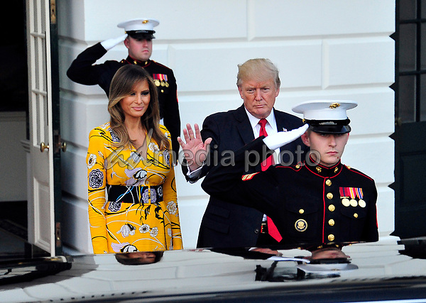 United States President Donald J. Trump and first lady Melania Trump bid farewell to Prime Minister Narendra Modi of India to the White House in Washington, DC on Monday, June 26, 2017. Photo Credit: Ron Sachs/CNP/AdMedia