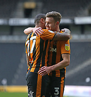 Hull City's Josh Magennis celebrates scoring his side's second goal with Callum Elder<br /> <br /> Photographer Rob Newell/CameraSport<br /> <br /> The EFL Sky Bet League One - MK Dons v Hull City - Saturday 21st November 2020 - Stadium MK - Milton Keynes<br /> <br /> World Copyright © 2020 CameraSport. All rights reserved. 43 Linden Ave. Countesthorpe. Leicester. England. LE8 5PG - Tel: +44 (0) 116 277 4147 - admin@camerasport.com - www.camerasport.com