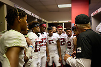 LOS ANGELES, CA - SEPTEMBER 11: Kyu Blu Kelly #17 and the defensive backs of the Stanford Cardinal after a game between University of Southern California and Stanford Football at Los Angeles Memorial Coliseum on September 11, 2021 in Los Angeles, California.