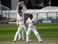 29th May 2021; Emirates Old Trafford, Manchester, Lancashire, England; County Championship Cricket, Lancashire versus Yorkshire, Day 3; Adam Lyth of Yorkshire withstands a loud appeal for lbw from Lancashire keeper Dane Vilas
