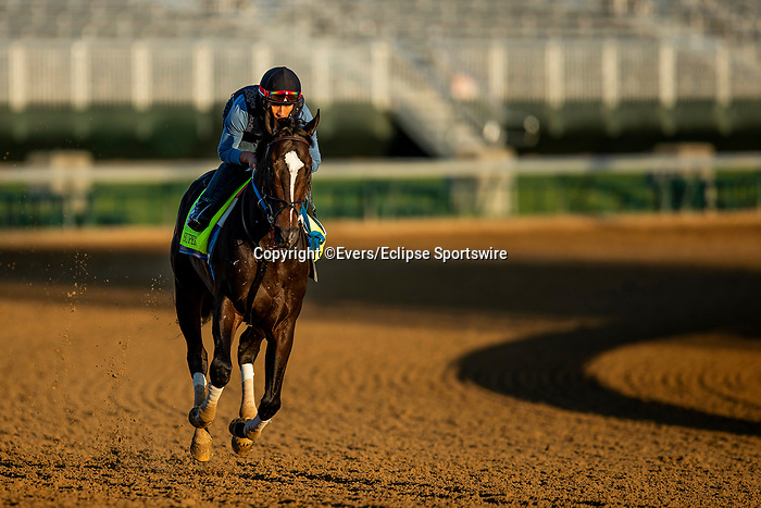 April 27, 2021: Super Stock gallops in preparation for the Kentucky Derby at Churchill Downs in Louisville, Kentucky on April 27, 2021. EversEclipse Sportswire/CSM