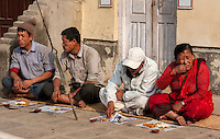 Nepal, Patan.  Guests Eating at a Family ceremonial Event.