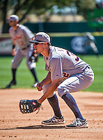 16 March 2014: Detroit Tigers outfielder Don Kelly plays at first base during a Spring Training Game against the Washington Nationals at Space Coast Stadium in Viera, Florida. The Tigers edged out the Nationals 2-1 in Grapefruit League play. Mandatory Credit: Ed Wolfstein Photo *** RAW (NEF) Image File Available ***