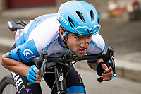 James Piccoli (CAN/Israel Start-Up Nation) tucked for speed<br /> <br /> 106th Liège-Bastogne-Liège 2020 (1.UWT)<br /> 1 day race from Liège to Liège (257km)<br /> <br /> ©kramon