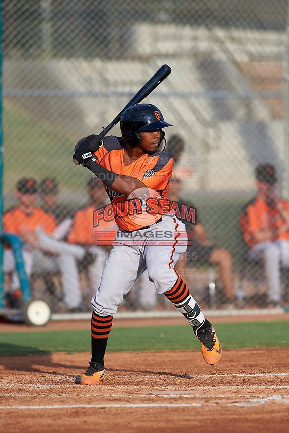 AZL Giants Orange Raiber Gutierrez (15) at bat during an Arizona League game against the AZL Giants Black on July 19, 2019 at the Giants Baseball Complex in Scottsdale, Arizona. The AZL Giants Black defeated the AZL Giants Orange 8-5. (Zachary Lucy/Four Seam Images)