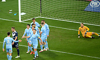 6th June 2021; AAMI Park, Melbourne, Victoria, Australia; A League Football, Melbourne Victory versus Melbourne City; City players celebrate scoring the opening goal of the game in the 54th minute as Nick Ansell of Victory puts into his own goal from a croos from City's Naoki Tsubaki