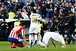 Real Madrid CF's Vinicius Jr and Real Madrid CF's Sergio Ramos celebs victory during La Liga match. Feb 01, 2020. (ALTERPHOTOS/Manu R.B.)