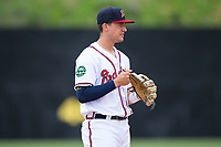 Danville Braves third baseman Drew Lugbauer (38) on defense against the Princeton Rays at American Legion Post 325 Field on June 25, 2017 in Danville, Virginia.  The Braves walked-off the Rays 7-6 in 11 innings.  (Brian Westerholt/Four Seam Images)