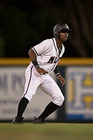 Modesto Nuts designated hitter Kyle Lewis (2) takes a lead off second base during a California League game against the Lake Elsinore Storm at John Thurman Field on May 12, 2018 in Modesto, California. Lake Elsinore defeated Modesto 4-1. (Zachary Lucy/Four Seam Images)