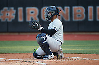 Hudson Valley Renegades catcher Saul Torres (26) warms up the pitcher between innings of the game against the Aberdeen IronBirds at Leidos Field at Ripken Stadium on July 23, 2021, in Aberdeen, MD. (Brian Westerholt/Four Seam Images)
