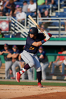 State College Spikes Carlos Soto (28) at bat during a NY-Penn League game against the Batavia Muckdogs on July 3, 2019 at Dwyer Stadium in Batavia, New York.  State College defeated Batavia 6-4.  (Mike Janes/Four Seam Images)