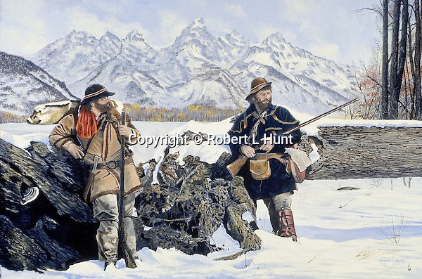 """Western explorers and mountain men Coulter and Drouillard taking a break from snow trekking and exploring in the Wyoming Teton Mountains, with flintlocks at the ready. Oil on canvas, 20"""" x 30""""."""
