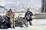 "Western explorers and mountain men Coulter and Drouillard taking a break from snow trekking and exploring in the Wyoming Teton Mountains, with flintlocks at the ready. Oil on canvas, 20"" x 30""."